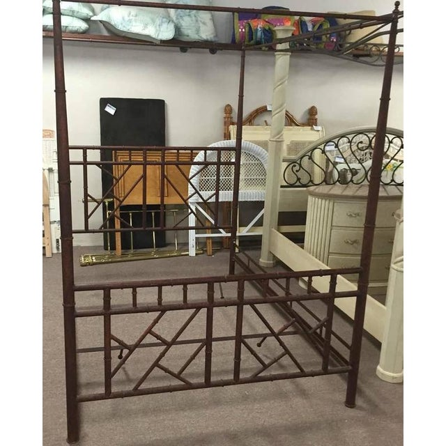 Mid 20th Century Vintage Chinese Chippendale Faux Bamboo Metal Canopy Queen Sized Bed For Sale - Image 5 of 7