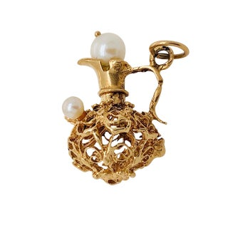 "Vintage 14k Gold Pearl & Ruby Pitcher ""Ewer"" Charm For Sale"