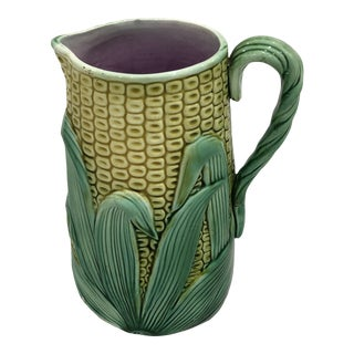 Antique English Majolica Corn Pitcher For Sale