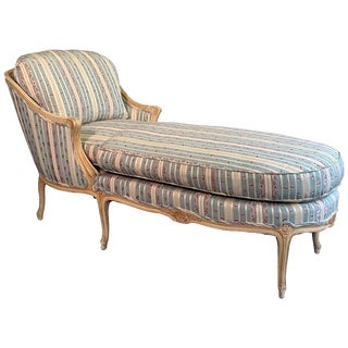 1960s Vintage Upholstered Carved Mahogany Chaise For Sale