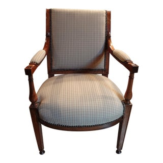 Pair of French Directoire Style Walnut Fauteuils