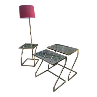 Design Institute of America Brass Lamp Nesting Tables - Set of 3 For Sale