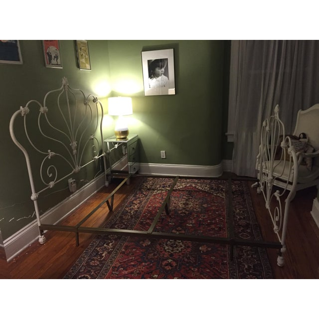 Antique White Rod Iron Double or Queen Bedframe - Image 5 of 7