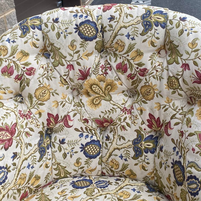 Off-white Tufted Floral Slipper Chairs - a Pair For Sale - Image 8 of 13
