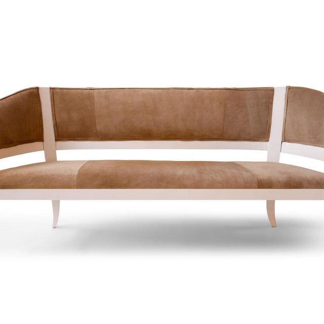 Animal Skin Custom Suede Upholstered Settees For Sale - Image 7 of 10