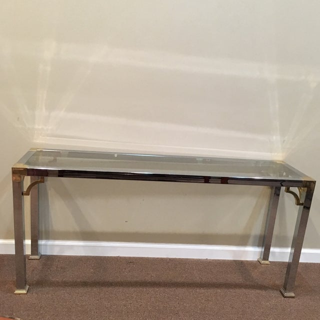 Mastercraft Chrome and Brass Console Table For Sale - Image 9 of 9
