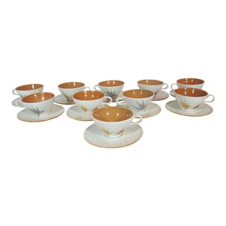 Mid-Century Iroquois China Cup and Saucers - Service for 10 For Sale