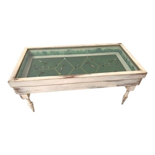 Vintage White Washed Croquet Coffee Table With Glass Top For Sale