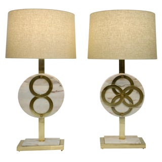 1970s Vintage Italian Modern Design Brass and Pink Carrara Marble Lamps - a Pair For Sale