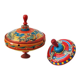 1950s Tin Spinning Toy Tops - a Pair For Sale