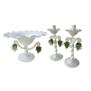 Vintage Murano Glass Candlesticks Set For Sale