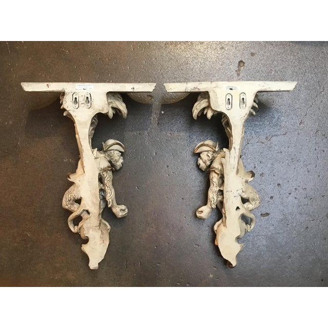 Pair of Vintage Composite Monkey Wall Shelves or Brackets For Sale - Image 4 of 9