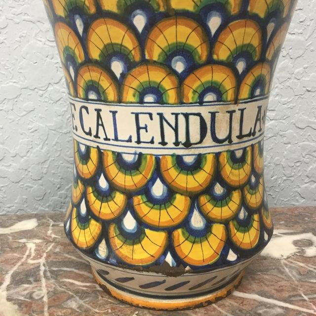 Ceramic 17th Century Italian Yellow Maiolica Pottery Albarello Drug Jar For Sale - Image 7 of 9