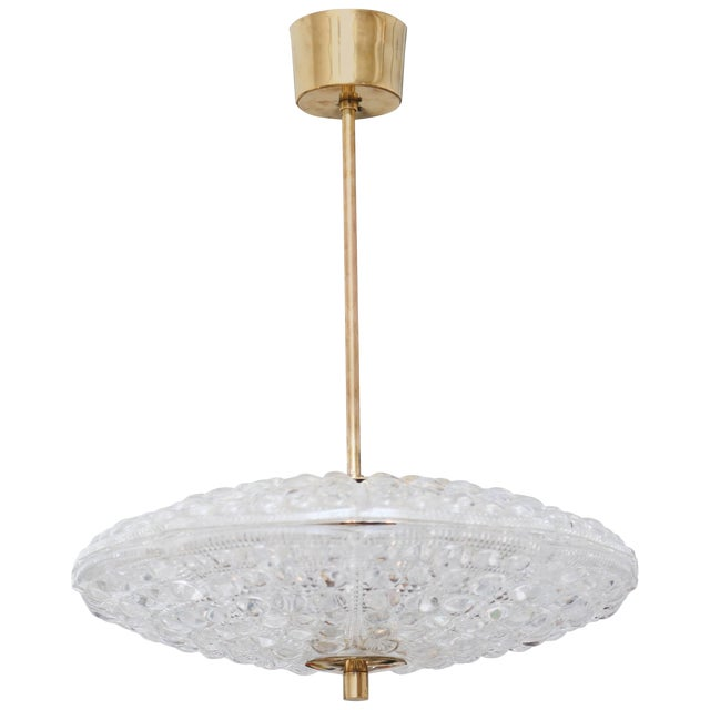 Carl Fagerlund for Orrefors Bubble Crystal Duel Disc Chandelier, Circa 1960s For Sale