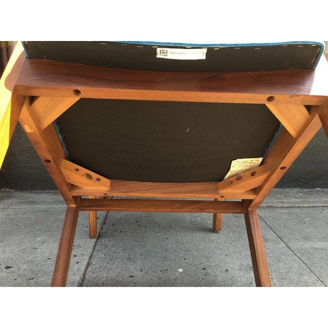 Robert John Walnut Arm Chairs in Blue Velvet For Sale - Image 10 of 11