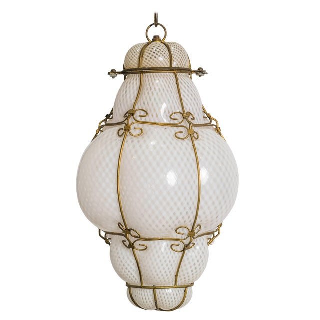 Italian Handblown Murano Lantern For Sale