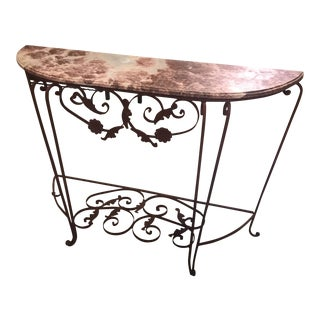 Marble and Iron Demi Lune Table