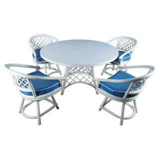 1960s Mid Century Modern Ficks Reed Bentwood Dining Set - 5 Pieces For Sale
