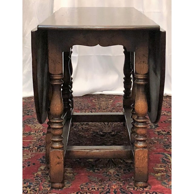 English Drop Leaf Yew-Wood Round Table For Sale - Image 4 of 8