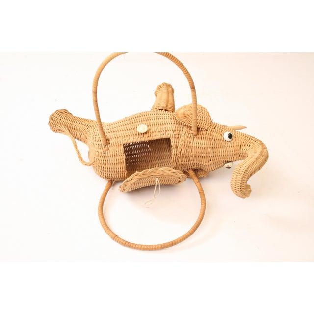 Vintage Wicker Figural Elephant Purse - Image 9 of 11
