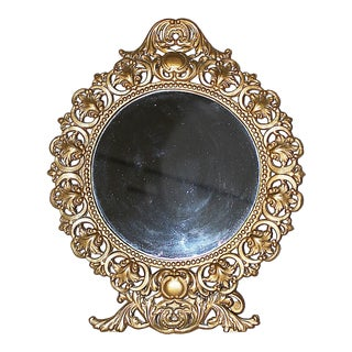Round Gilt-Metal Vanity Mirror For Sale