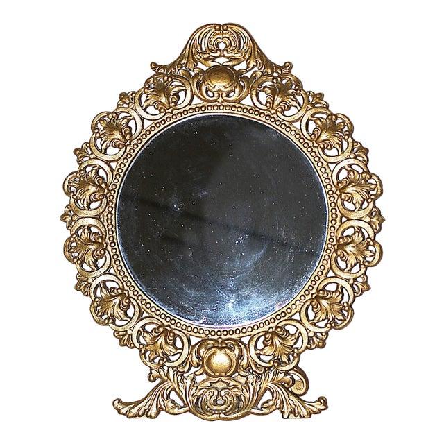 Round Gilt-Metal Vanity Mirror For Sale