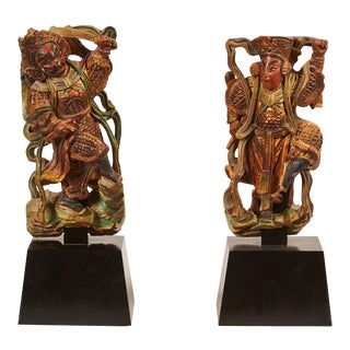 Pair of 20th Century Taiwanese Deity With Stand For Sale