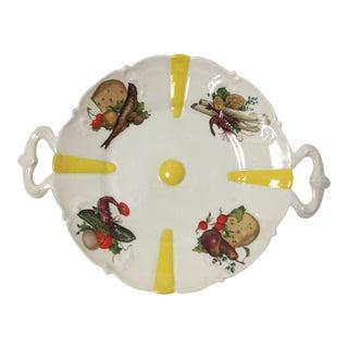 Vintage Asian Hand Painted Footed Porcelain Server For Sale