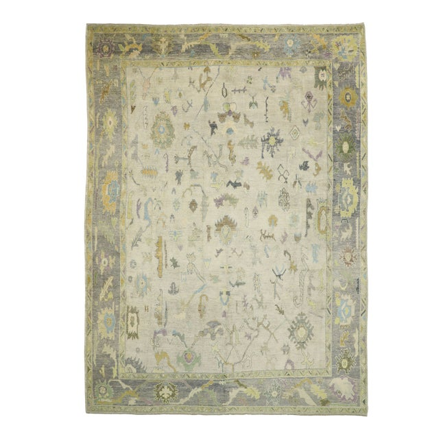 Contemporary Turkish Oushak Rug With Pastel Colors - 12'05 X 17'01 For Sale