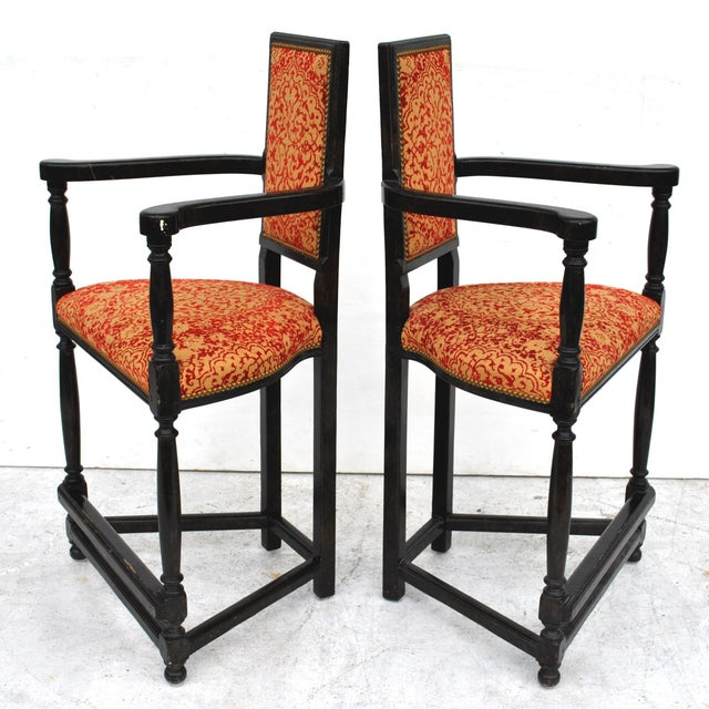 Dennis & Leen Pair of Louis XIII Style Ebonized Stools by Dennis and Leen For Sale - Image 4 of 11