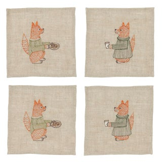 Modern Fox Cookies and Milk Cocktail Napkin- Set of 4 For Sale
