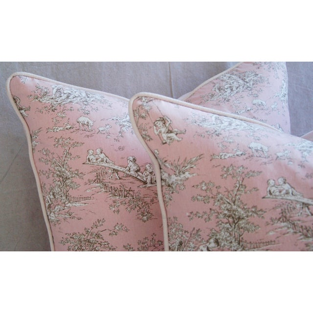 French Pink Toile & Velvet Pillows - A Pair - Image 5 of 11
