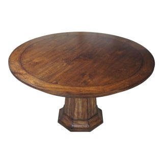 "Henredon Acquisitions Round Mahogany Glass Top Pedestal Dining Table - 54"" For Sale"