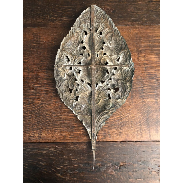 18th Century Early 18th Century Baroque Repousse Dutch Brass Sunflower Sconce Backplates - a Pair For Sale - Image 5 of 13