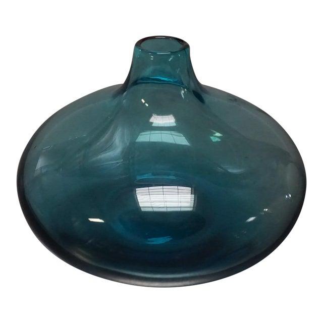 Squat Blue Glass Bud Vase - Image 1 of 4