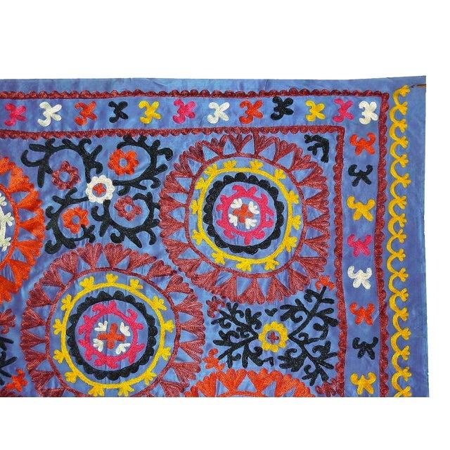 Uzbek Embroidered Blue Suzani - Image 2 of 3