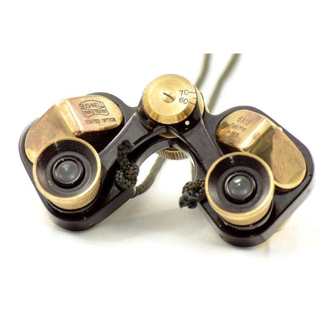 Animal Skin Bushnell Brass Opera Binoculars With Leather For Sale - Image 7 of 9