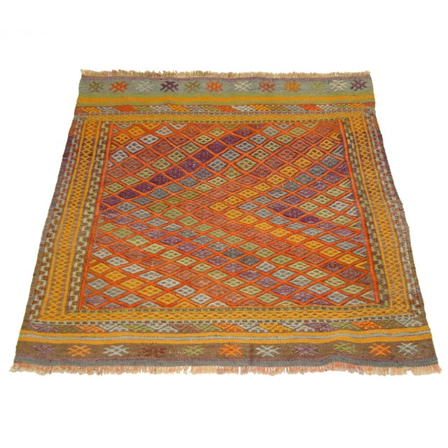 Bright & Colorful Vintage Turkish Kilim - 2'9 X 3' - Image 2 of 3