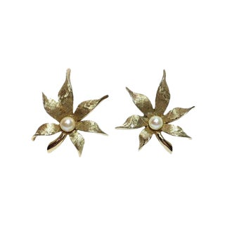 Boucher Cultured Pearl Clip Back Earrings For Sale