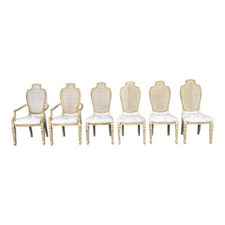 Vintage 1950s Century Furniture French Provincial Style Cane Back Chairs - Set of 6 For Sale