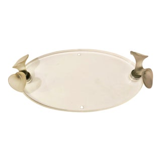 Lucite Tray With Lalique Style Glass Flowers Handles For Sale