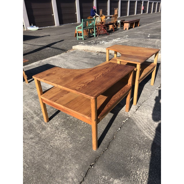 Wood Large Pine Square Two Tier Side Tables - a Pair For Sale - Image 7 of 11