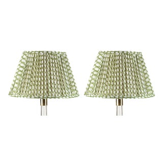 Fermoie Gathered Linen Lampshade in Green Wicker, 16 Inch, Set of 2 For Sale