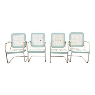 Country Garden Arm Chairs in Light Turquoise and White - Set of 4 For Sale