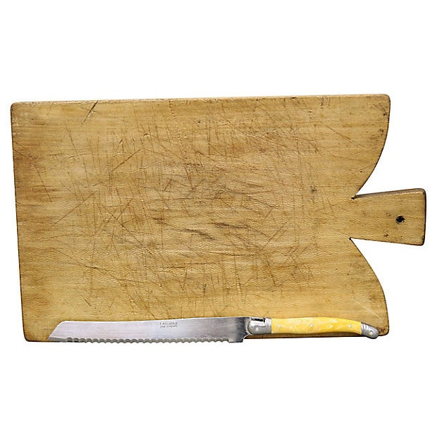 Cottage French Bread Board W/ Languiole Bread Knife For Sale - Image 3 of 3