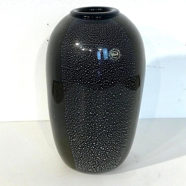 Black and silver Murano glass vase, by Ghisetti Murano, internally decorated, script signature and retains paper label.