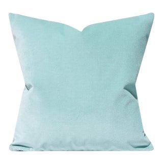 Glacier Ice Blue Velvet Pillow Cover For Sale