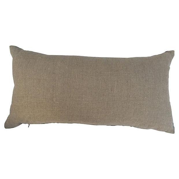 Black & White Silk Ikat Pillow For Sale - Image 4 of 4