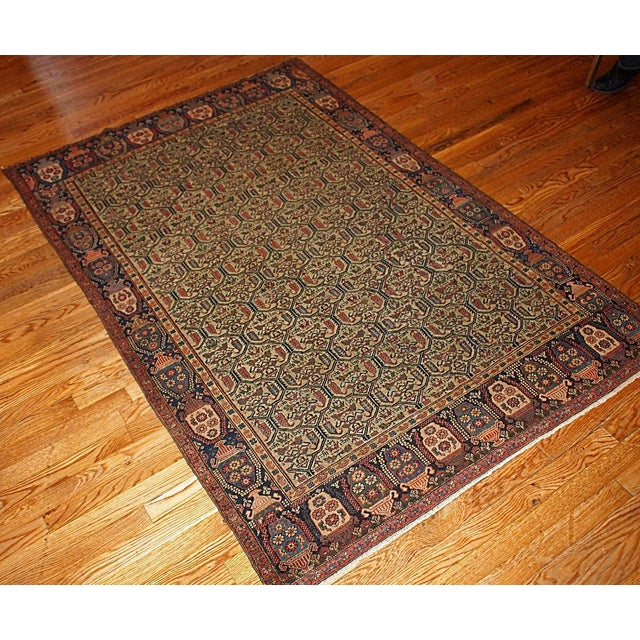 1860s Hand Made Antique Persian Farahan Rug - 4′3″ × 6′4″ For Sale - Image 5 of 5