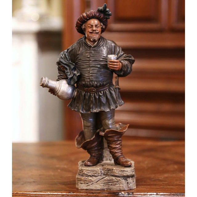 19th Century French Polychrome Terracotta Musketeer Beer Drinker Figurine For Sale - Image 10 of 10